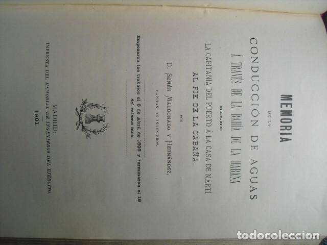Libros antiguos: 1901 CONDUCCION DE AGUAS A TRAVÉS DE LA BAHÍA DE LA HABANA SENÉN MALDONADO - Foto 2 - 90392136