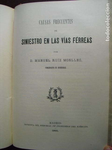 1901 CAUSAS FRECUENTES DE SINIESTRO EN LAS VÍAS FERREAS M. RUIZ MONLLEO (Libros Antiguos, Raros y Curiosos - Ciencias, Manuales y Oficios - Otros)