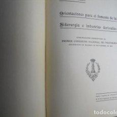 Libri antichi: 1920 ORIENTACIONES PARA EL FOMENTO DE LA SIDERURGIA J COLL Y SORIANO. Lote 90461584
