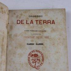 Alte Bücher - L- 1. CANSONS DE LA TERRA, CANTS POPULARS CATALANS, FRANCESCH PELAY BRIZ. 1866.PERGAMÍ - 90641100