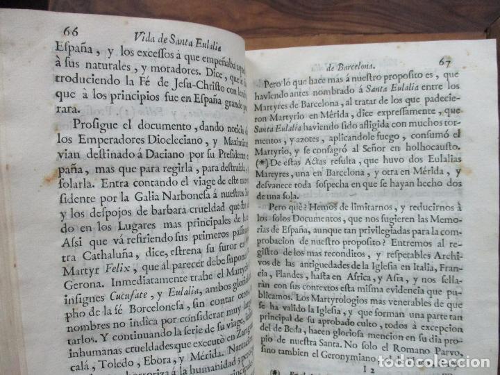 Libros antiguos: VIDA, MARTYRIOS, Y GRANDEZAS DE SANTA EULALIA...RAMON DE PONSICH Y CAMPS. 1770. - Foto 6 - 90988145