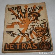 Libros antiguos: COMO LAS FLECHAS EN HAZ REVISTA LETRAS 1939 AÑO DE LA VICTORIA, PUBLICIDAD SINDICATO CENTRAL ARAGON. Lote 91403360