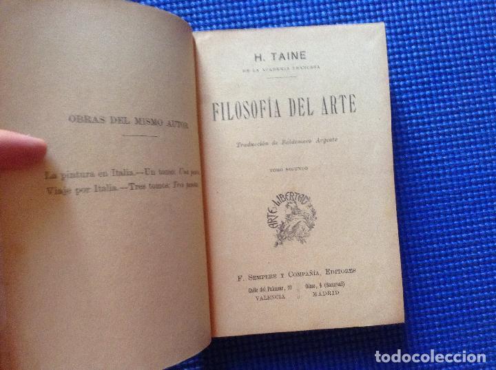Libros antiguos: FILOSOFIA DEL ARTE H TAINE 2 TOMOS - Foto 4 - 91852235