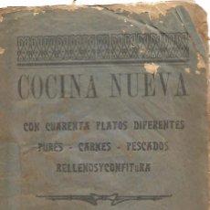 Libros antiguos: ANTIGUO LIBRETO ANTIGUA COCINA NUEVA AÑO 1910 20 PURES CARNES PESCADOS RELLENOS Y CONFITURA PAPEL. Lote 92208805