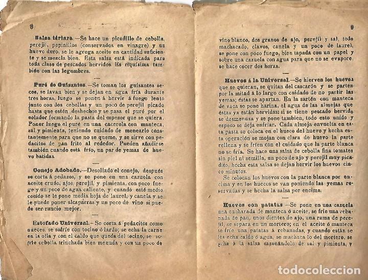 Libros antiguos: antiguo libreto antigua cocina nueva año 1910 20 pures carnes pescados rellenos y confitura papel - Foto 4 - 92208805
