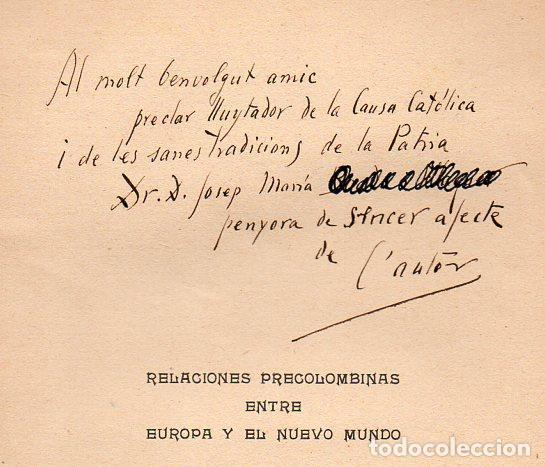 Libros antiguos: BARÓ Y COMAS : RELACIONES PRECOLOMBINAS ENTRE EUROPA Y EL NUEVO MUNDO (ALTÉS, 1913) CON AUTÓGRAFO - Foto 2 - 92774915