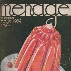 Libros antiguos: MENAGE Nº 40 MAYO 1934. Lote 93074325