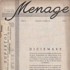 Libros antiguos: MENAGE Nº 59 DICIEMBRE 1935 . Lote 93076095