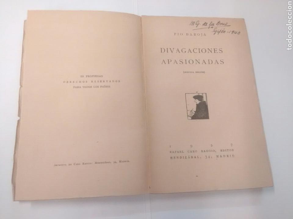 Libros antiguos: Divagaciones apasionadas - Pío Baroja - 1927 - Foto 3 - 93328805