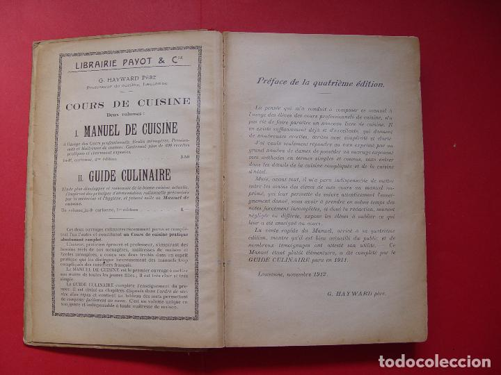 Libros antiguos: G. Hayward: MANUEL DE CUISINE (Payot, 1913) Cocina ¡ORIGINAL! ¡Coleccionista! - Foto 8 - 93390915