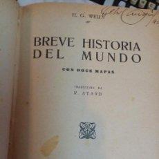 Libros antiguos: BREVE HISTORIA DEL MUNDO - HG WELLS M. AGUILAR EDITOR. Lote 93610914