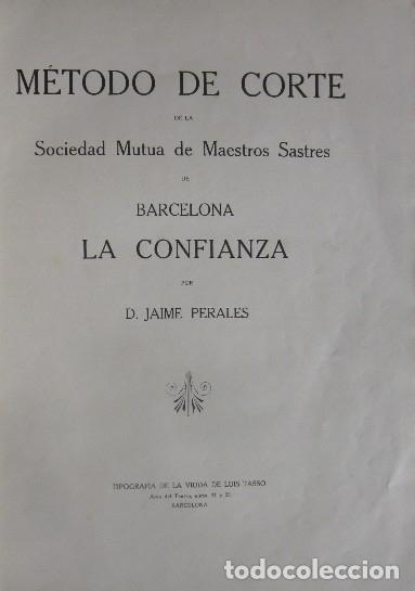 Libros antiguos: METODO DE CORTE DE LA SOCIEDAD MUTUA DE MAESTROS SASTRES LA CONFIANZA DE BARCELONA - Foto 2 - 93702640