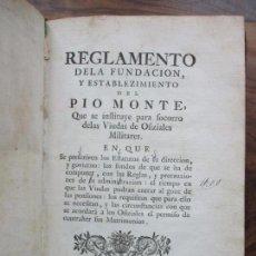 Libros antiguos: REGLAMENTO DE LA FUNDACION, Y ESTABLEZIMIENTO DEL PIO MONTE,..[REINO DE LAS DOS SICILIAS].1753. Lote 93999445