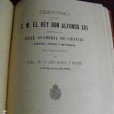 Libros antiguos: 1904 DISCURSO LEIDO ANTE S.M. EN LA ACADEMIA DE CIENCIAS POR DON JOSÉ MARVÁ Y MAYER. Lote 94367354