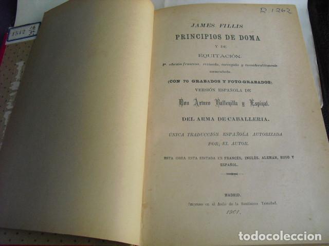 Libros antiguos: 1901 PRINCIPIOS DE DOMA Y EQUITACIÓN J. FILLIS - Foto 2 - 95944019