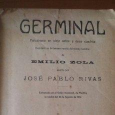 Libros antiguos: GERMINAL. OBRA TEATRAL.1915. Lote 96029680