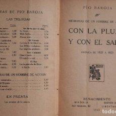 Libros antiguos: CON LA PLUMA Y EL SABLE, 1915. PÍO BAROJA. ED. RENACIMIENTO. 1ª PRIMERA EDICIÓN. TAPA DURA.. Lote 96060015