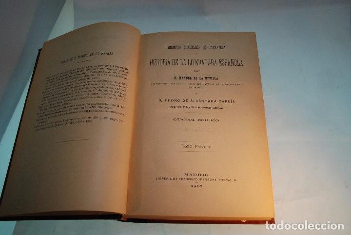 Libros antiguos: HISTORIA DE LA LITERATURA ESPAÑOLA - TOMOS I Y II - REVILLA Y ALCÁNTARA - MADRID - 1897 - - Foto 3 - 96368355