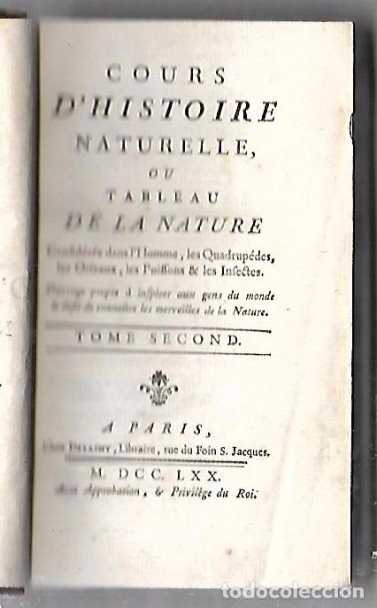 CURSO DE HISTORIA NATURAL. TOMO SEGUNDO. 1770. PARIS. GRABADOS. CHEZ DESAINT. LEER. VER (Libros Antiguos, Raros y Curiosos - Ciencias, Manuales y Oficios - Otros)