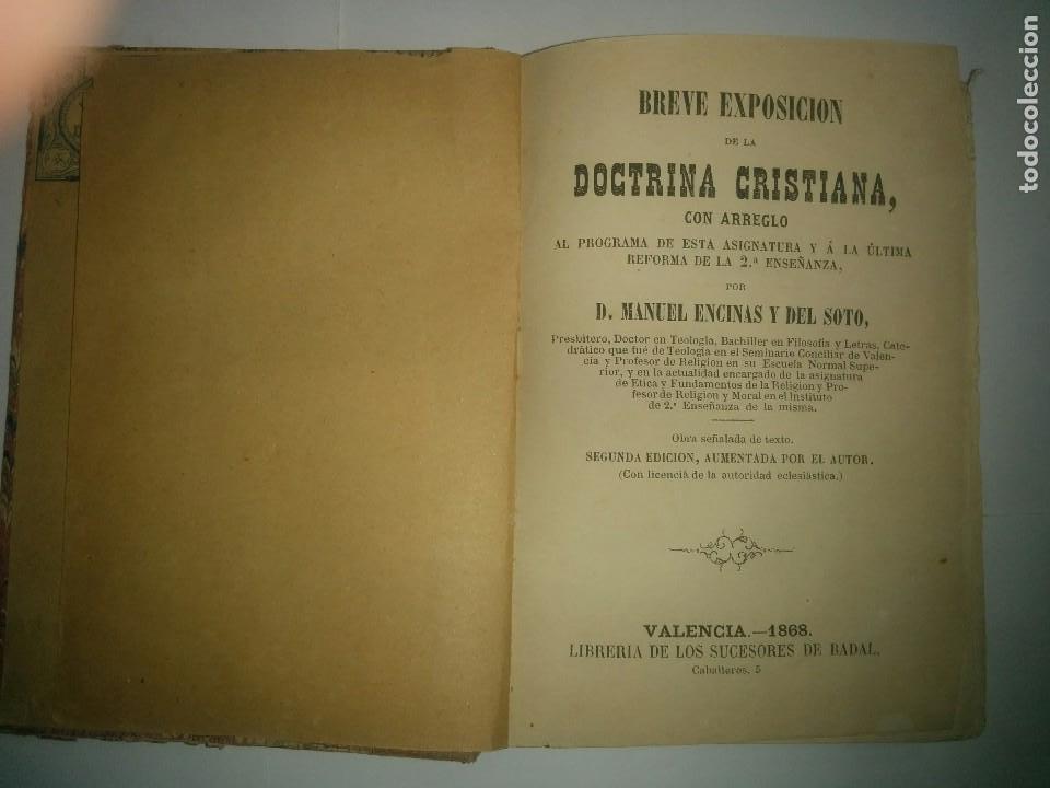 BREVE EXPOSICIÓN DE LA DOCTRINA CRISTIANA 1868 MANUEL ENCINAS Y DEL SOTO (Libros Antiguos, Raros y Curiosos - Pensamiento - Otros)