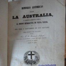 Libros antiguos: MEMORIAS HISTÓRICAS SOBRE LA AUSTRALIA, ROSENDO SALVADO, 1853. Lote 96968291