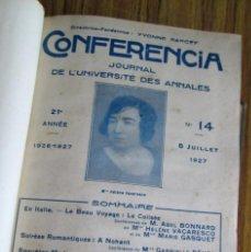 Libros antiguos: CONFERENCIA - JOURNAL DE L´UNIVERSITE DES ANNALES 1927 AL 1938. Lote 97080291