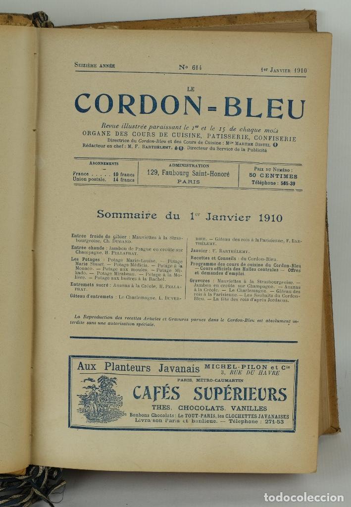 Libros antiguos: Le Cordon Bleu años 1908, 1909 y 1910 - Foto 6 - 97307199
