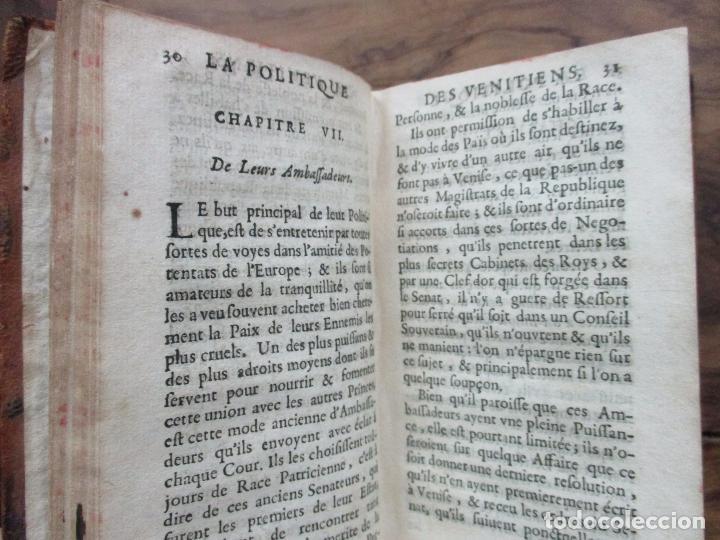 Libros antiguos: LA POLITIQUE CIVILE ET MILITAIRE DES VENITIENS. 1670. - Foto 7 - 97391671