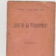 Libros antiguos: ¿QUÉ ES LA THEOSOPHÍA? HERMES 1889.. Lote 97729691