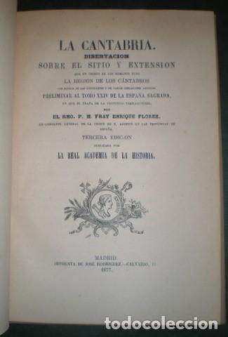 FLOREZ, ENRIQUE: LA CANTABRIA. 1877 (Libros Antiguos, Raros y Curiosos - Historia - Otros)