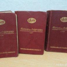 Libros antiguos: MANUAL DEL INGENIERO HUTTE 1926 GUSTAVO GILI EDITOR 1926 TOMOS I Y II 1928 TOMO III. Lote 98052219