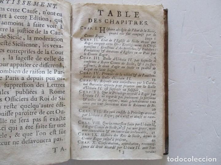 Libros antiguos: Defense de la Monarchie de Sicile contre les entreprises de La Cour de Rome... RM83159. - Foto 3 - 98138007