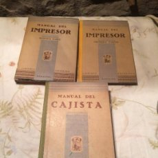 Libros antiguos: ANTIGUOS 3 LIBRO / LIBROS MANUAL DEL IMPRESOR 1, MANUAL DEL IMPRESOR 2, MANUAL DEL CAJISTA AÑO 1941. Lote 98230915
