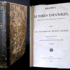 Libros antiguos: AÑO 1852 QUEVEDO OBRAS COMPLETAS. BUSCÓN, SUEÑOS, CATÁLOGO... VIDA DE FRANCISCO DE QUEVEDO. Lote 37110737