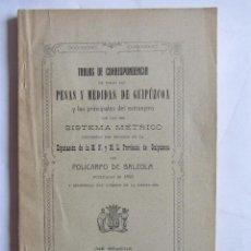 Libros antiguos: TABLAS DE CORRESPONDENCIA DE TODA LAS PESAS Y MEDIDAS DE GUIPUZCOA. SAN SEBASTIÁN 1917. Lote 99228095
