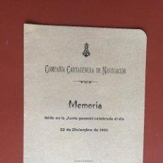 Libros antiguos: COMPAÑIA CARTAGENERA DE NAVEGACION- CARTAGENA 1.901. Lote 99447139