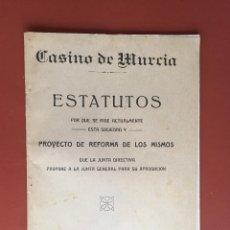 Libros antiguos: CASINO DE MURCIA- ESTATUTOS 1.929. Lote 99449423