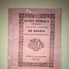 Libros antiguos: MURCIA- REAL SOCIEDAD ECONOMICA DE LOS AMIGOS DEL PAIS 1.835. PREMIOS EN OBSEQUIO DE ISABEL II. Lote 99591807