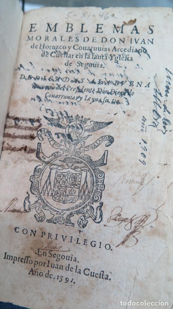 Libros antiguos: 1591.- EMBLEMAS MORALES. JUAN DE HOROZCO Y COVARRUBIAS. SEGOVIA. JUAN DE LA CUESTA - Foto 3 - 99991075