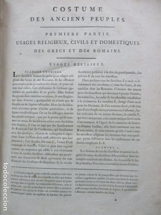 Libros antiguos: COSTUME DES ANCIENS PEUPLES, A L'USAGE DES ARTISTES. M. DANDRÉ BARDON. 3 TOMOS. 1784-1785. - Foto 3 - 100135467