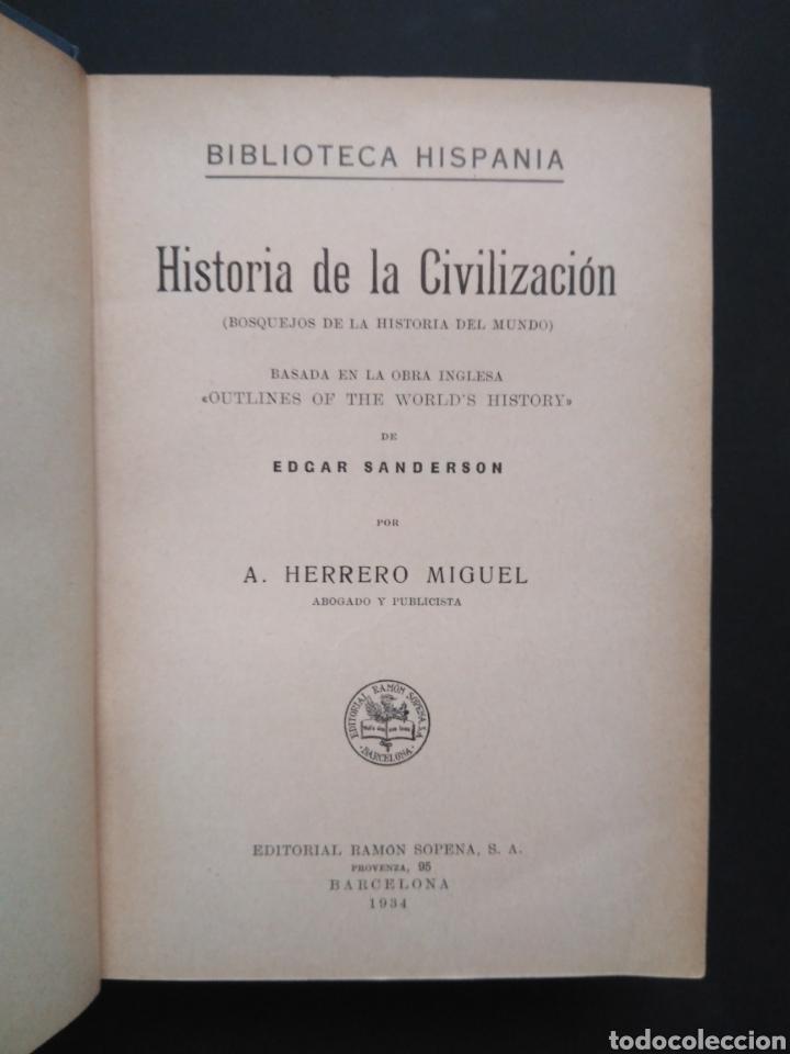 Libros antiguos: HISTORIA DE LA CIVILIZACIÓN, 1934 ED. RAMON - Foto 2 - 100396091