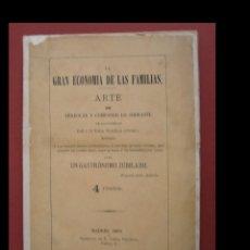 Libros antiguos: LA GRAN ECONOMIA DE LAS FAMILIAS. ARTE DE ARREGLAR Y COMPONER LO SOBRANTE... UN GASTRONOMO JUBILADO. Lote 100519295