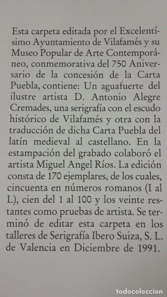 Libros antiguos: VILLAFAMES,CARTA PUEBLA.GRAVADOS GRAN CARPETA,ALEGRE CREMADES. - Foto 8 - 101069023