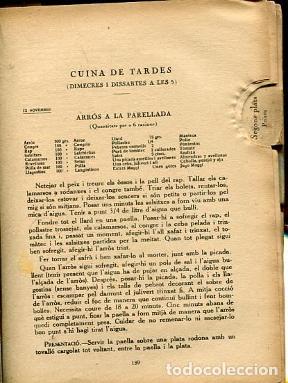 Libros antiguos: Classes de Cuina. Curs de 1930-31 - Clases de Cocina - Rondissoni, Josep - Foto 2 - 101156351