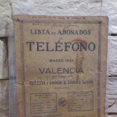 Libros antiguos: LISTA DE ABONADOS AL TELEFONO - VALENCIA 1932 - GUIA - TELEFONOS - TELEFONICA - MUY RARA. Lote 101193715