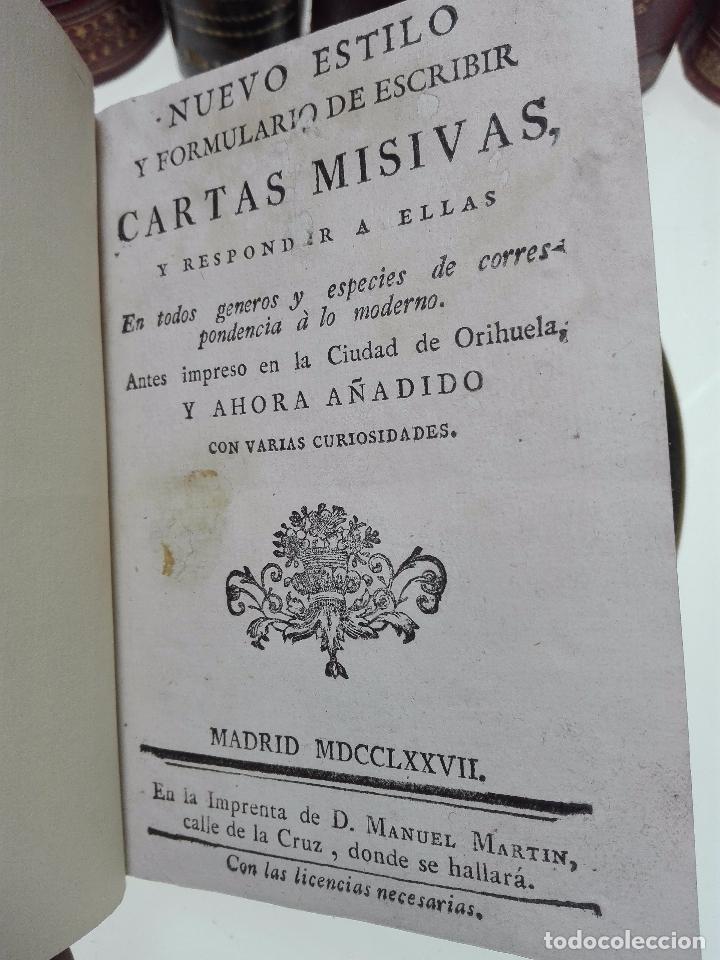 Libros antiguos: NUEVO ESTILO Y FORMULARIO DE ESCRIBIR CARTAS MISIVAS Y RESPONDER A ELLAS - MADRID - 1777 - - Foto 3 - 101696943