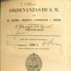 Libros antiguos: MILITAR. ORDENANZAS DE S.M. ANTONIO VALLECILLO. MADRID 1850. TRES TOMOS.. Lote 101731063