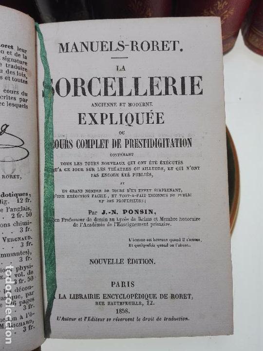 Libros antiguos: MANUELS-RORET-LA SOECELLERIE ANCIENNE ET MODERNE EXPLIQUÉE OU COURS COMPLET DE PRESTIDIGITATIÓN 1858 - Foto 3 - 101744143