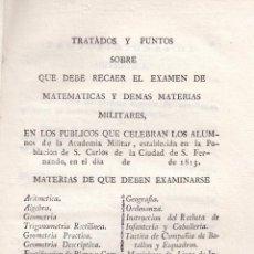 Libros antiguos: ANONIMO. TRATADOS SOBRE LOS QUE RECAE EL EXAMEN DE MATERIAS MILITARES. CÁDIZ, 1813.. Lote 102010211