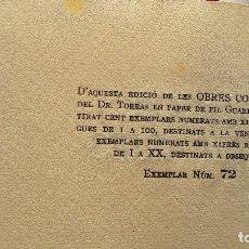 Libros antiguos: OBRES COMPLETES JOSEP TORRES Y BAGES. PRIMICIES LITERÀRIES. EDICIÓ NUMERADA. N.72/100.PAPER DE FIL G. Lote 102236899